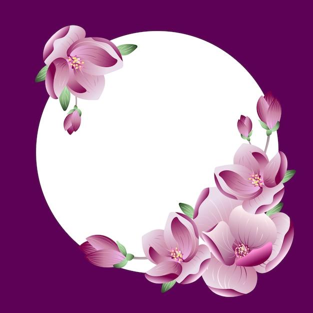 Vektor schöner rahmenverlauf rosa magnolienblumenkranz mit platz für text oder foto für hochzeit oder grußkarte Premium Vektoren