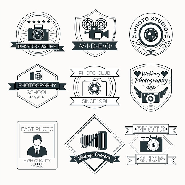 Vektor-set fotografie abzeichen Premium Vektoren