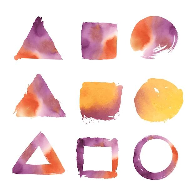 Vektor-set für geometrische formen des aquarells Kostenlosen Vektoren