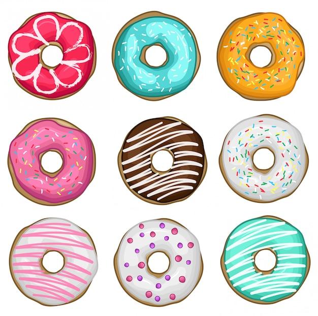 Vektor-set von donuts Premium Vektoren