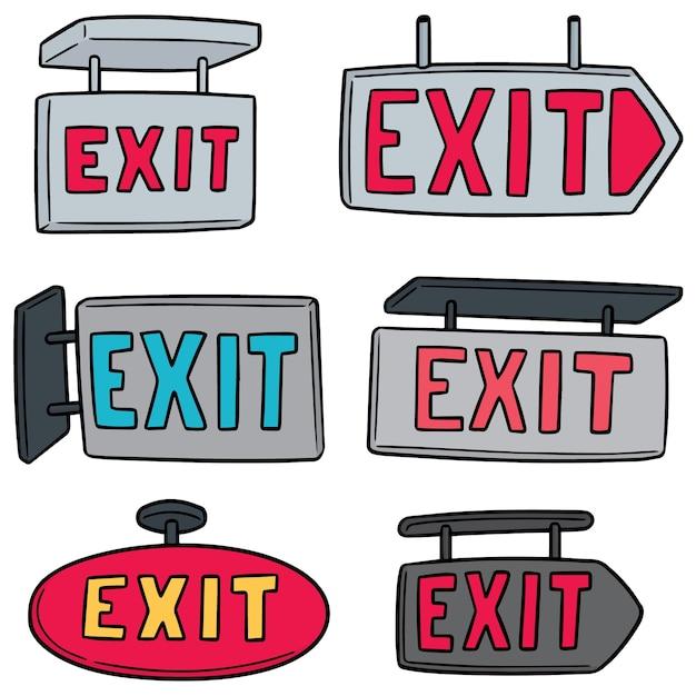 Vektor-set von exit-zeichen Premium Vektoren