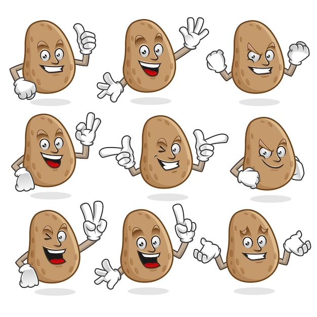 Vektor-set von kartoffel-maskottchen Premium Vektoren