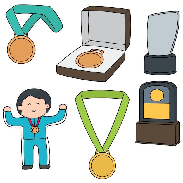 Vektor-set von medaille und trophäe Premium Vektoren