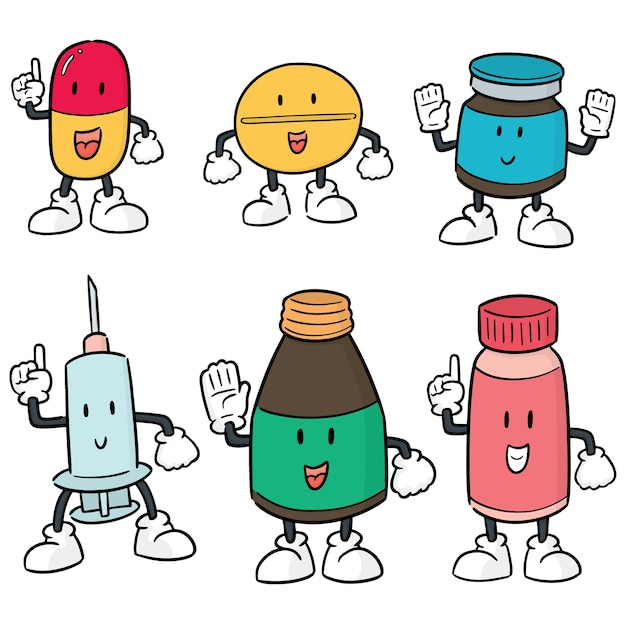 Vektor-set von medizin cartoon Premium Vektoren