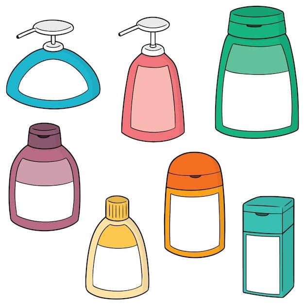 Vektor-set von shampoo und flüssigseife flasche Premium Vektoren