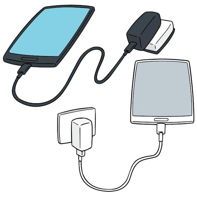 Vektor-set von smartphone aufladen Premium Vektoren