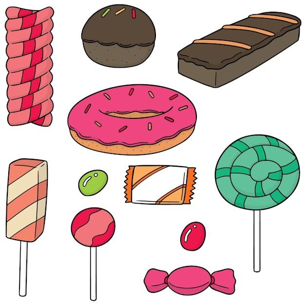 Vektor-set von süßigkeiten und süßigkeiten Premium Vektoren