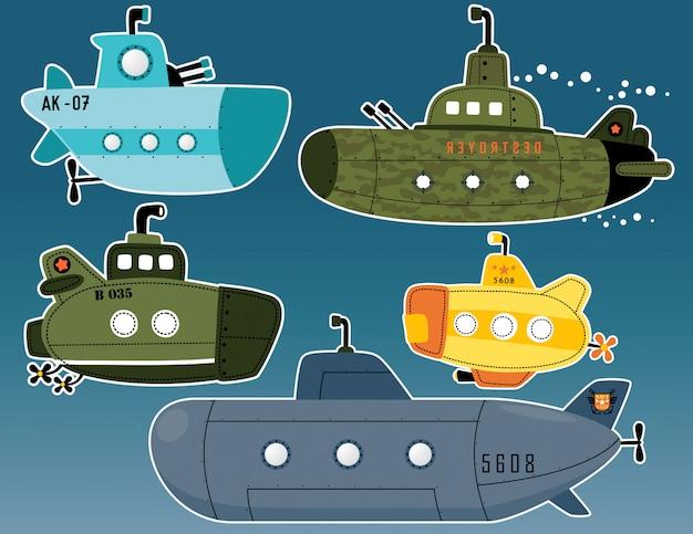 Vektor-set von u-boot-cartoon Premium Vektoren
