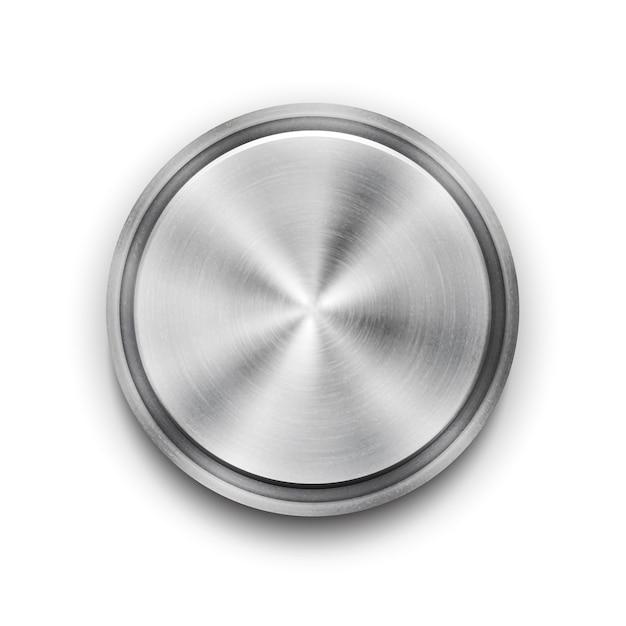 Vektor silber kreisförmige metall strukturierte schaltfläche mit einem konzentrischen kreis texturmuster und metallic glanz overhead view vektor-illustration Kostenlosen Vektoren
