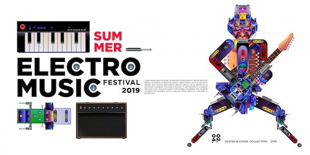 Vektor sommer electro musik festival banner design-vorlage Premium Vektoren