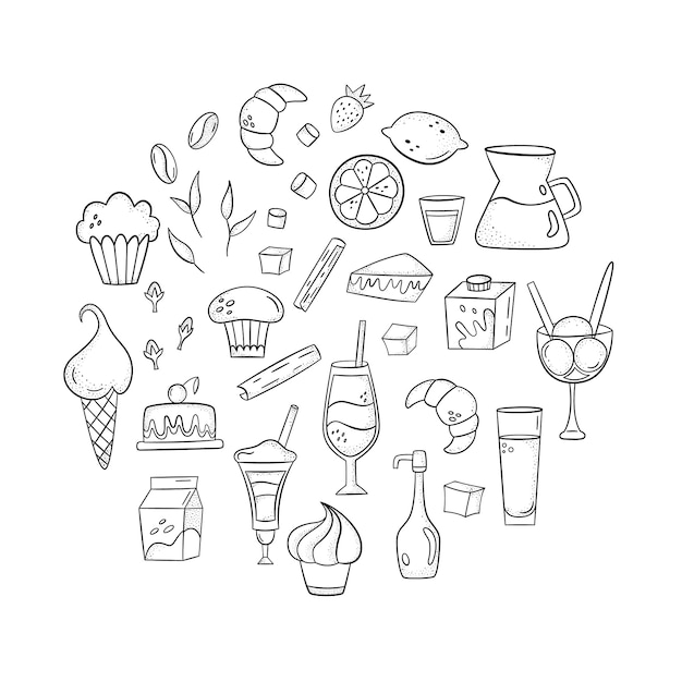 Vektor stellte mit kaffeezusätzen, nachtischen und getränken ein. handgezeichneten stil Premium Vektoren