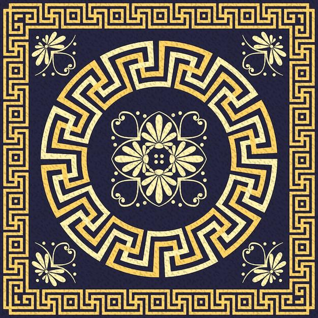 Vektor traditionelle vintage gold griechische verzierung (mäander) Premium Vektoren