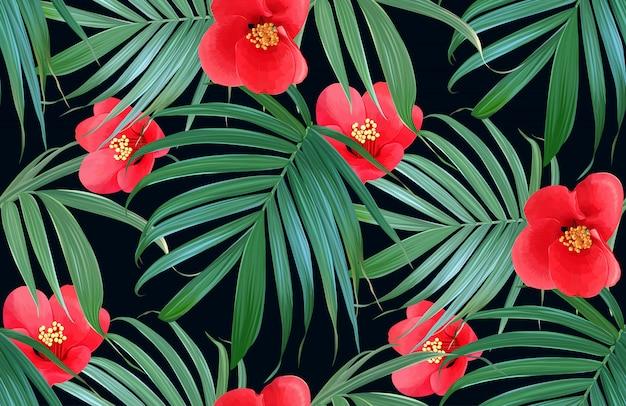 Vektor tropische blumen und palmblätter nahtlose muster. Premium Vektoren