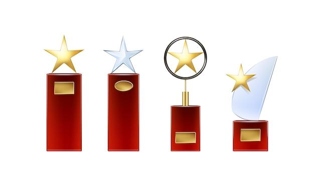 Vektor verschiedene goldene, glasstern-trophäen mit großer roter basis und goldenen schildern für copyspace-vorderansicht lokalisiert auf weißem hintergrund Kostenlosen Vektoren