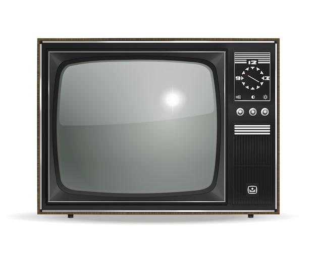 Vektor vintage alter fotorealistischer crt-fernseher auf weiß Kostenlosen Vektoren