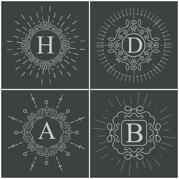Vektor-vintage-monogramm-logo. Premium Vektoren