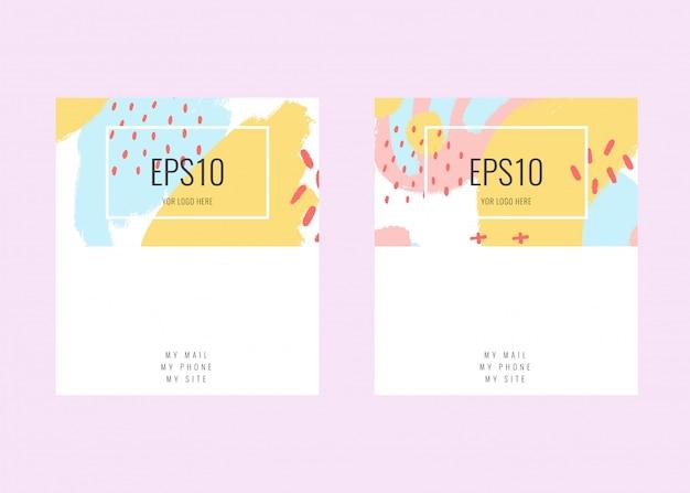 Vektor-visitenkarte auf lager mit einem pastellfarbdesign. memphis-stil Premium Vektoren