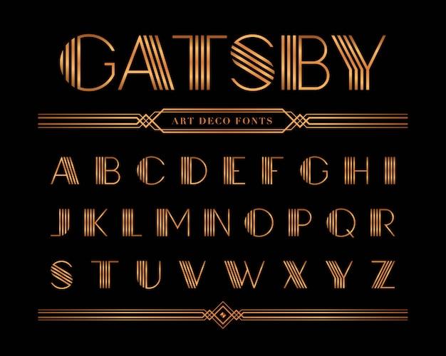 Vektor von gatsby-guss und -alphabet, goldbriefsatz. Premium Vektoren