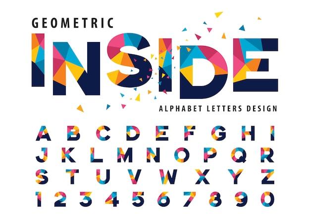 Vektor von geometrischen alphabet-buchstaben, bunter dreieck-buchstabe Premium Vektoren