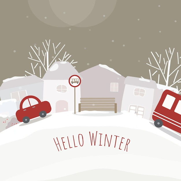 Vektor von häusern, auto und schneebedeckten wäldern Kostenlosen Vektoren