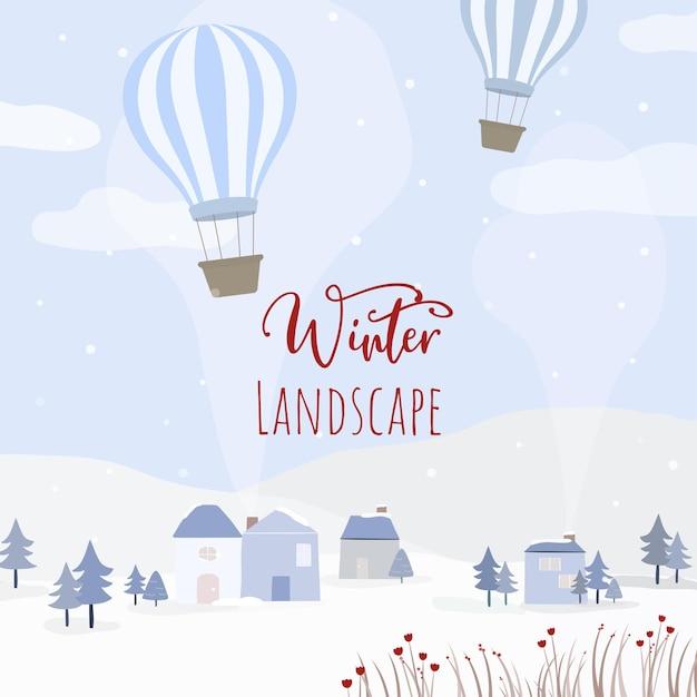 Vektor von häusern, ballon und schneebedeckten wäldern Kostenlosen Vektoren