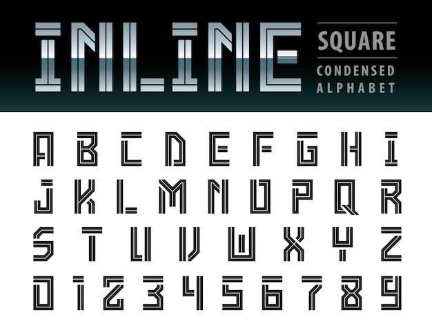 Vektor von modernen quadratischen alphabet-buchstaben, geometrische guss-technologie, futuristische zukunft Premium Vektoren