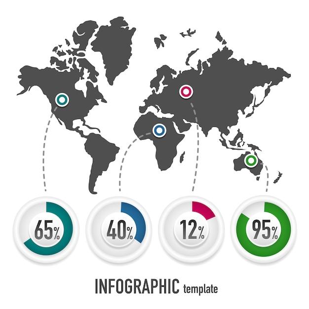 Vektor vorlage für infografiken mit einer karte der erde und diagramme mit prozentsätzen Premium Vektoren
