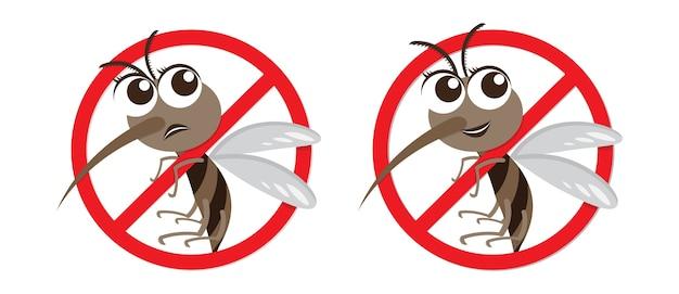 Vektor-warnung und anti-moskito-cartoon-figur Premium Vektoren