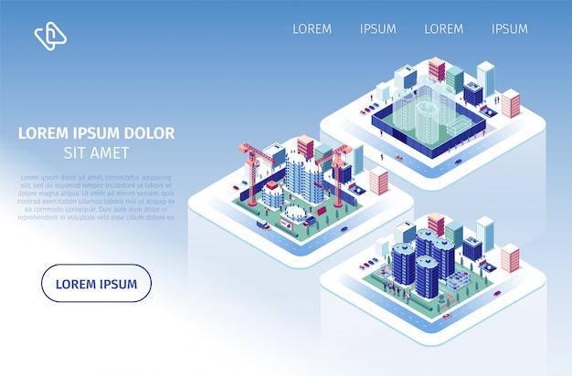 Vektor-website für bauinvestitionen Premium Vektoren