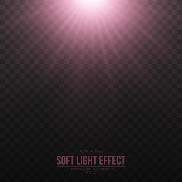 Vektor-weicher rosa lichteffekt auf transparenten hintergrund Premium Vektoren