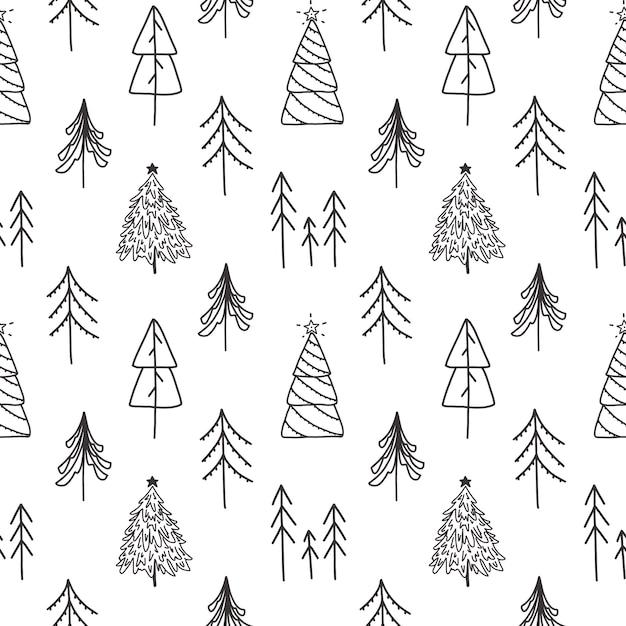 Vektor weihnachten hand gezeichnete nahtlose muster. Premium Vektoren