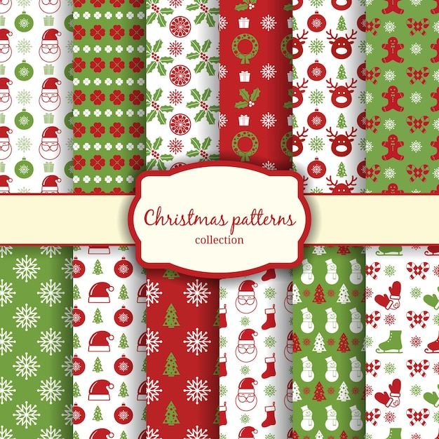 Vektor weihnachten nahtlose muster für weihnachtskarten und geschenkpapier Kostenlosen Vektoren