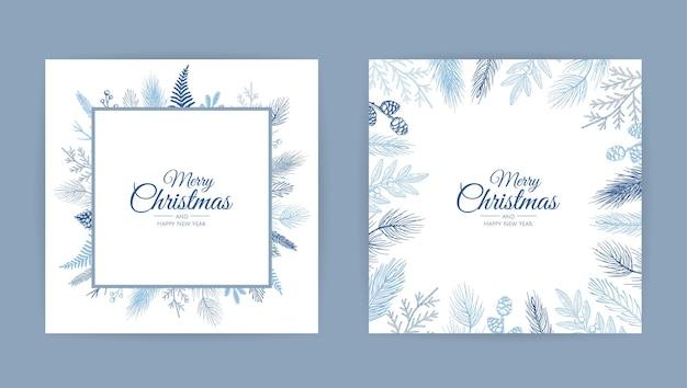 Vektor-weihnachtskarten-satz. Premium Vektoren