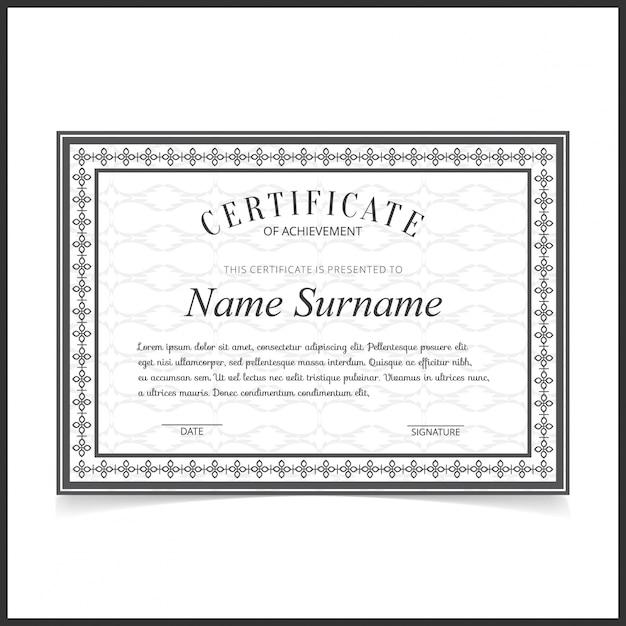 Vektor-Zertifikat-Vorlage mit dunkelgrauen Rändern | Download der ...