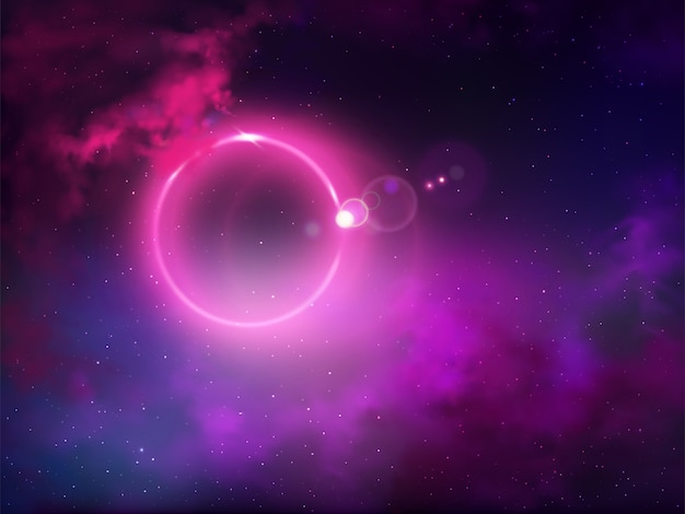 Vektor-zusammenfassungshintergrund der ereignishorizont-weltraumansicht des schwarzen lochs realistischer. helle anomalie oder eklipse, glühender leuchtstoffring mit violettem halo im sternenklaren nächtlichen himmel mit wolkenillustration Kostenlosen Vektoren