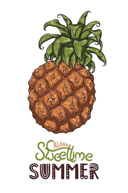 Vektorabbildung der ananas. schriftzug: aloha sweet time summer. Premium Vektoren