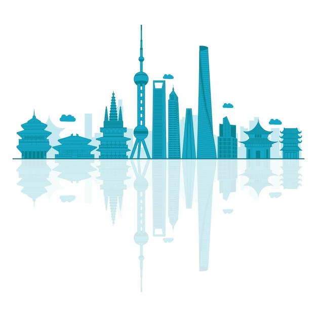 Vektorabbildung der china-skyline. Premium Vektoren