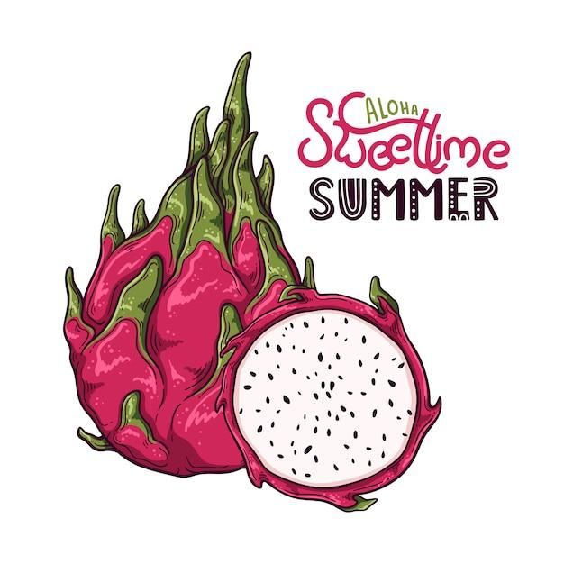 Vektorabbildung der drachefrucht. schriftzug: aloha sweet time summer. Premium Vektoren