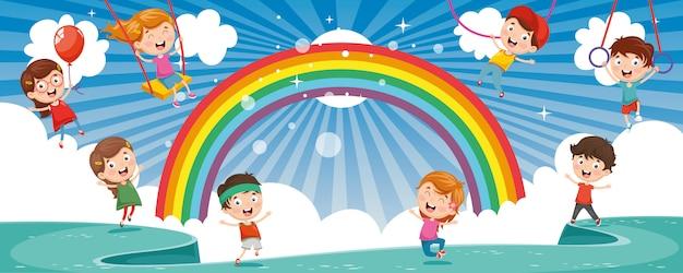 Vektorabbildung der glücklichen kinder Premium Vektoren