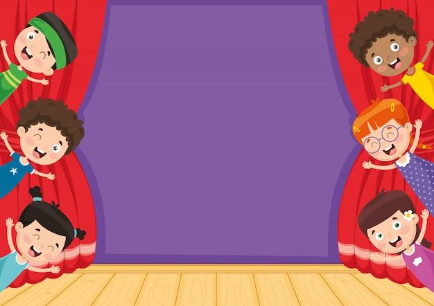 Vektorabbildung der kinder am theater Premium Vektoren