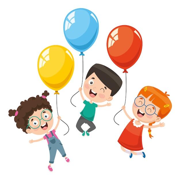Vektorabbildung der kinder mit ballon Premium Vektoren