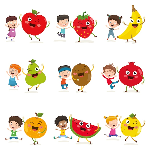Vektorabbildung der kinder und der frucht-charaktere Premium Vektoren
