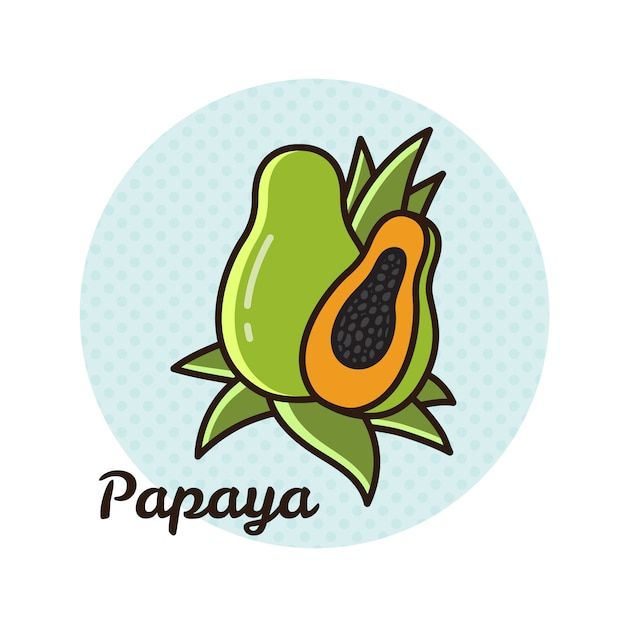 Vektorabbildung der papaya. Premium Vektoren