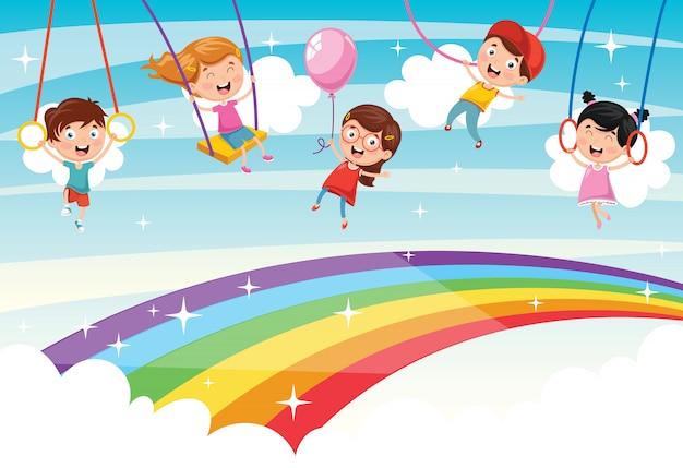 Vektorabbildung der regenbogenkinder Premium Vektoren