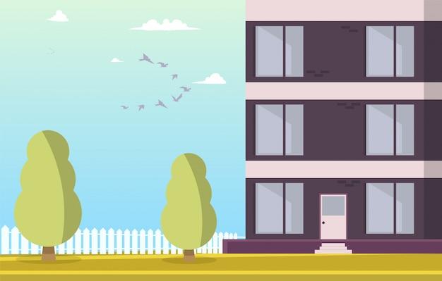 Vektorabbildung-hof-wohngebäude Kostenlosen Vektoren