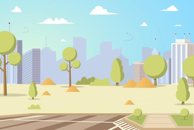 Vektorabbildung-karikatur-stadt-park-panoramen Kostenlosen Vektoren