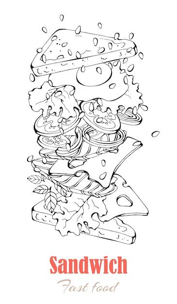 Vektorabbildungen auf dem schnellimbissthema: sandwich. Premium Vektoren