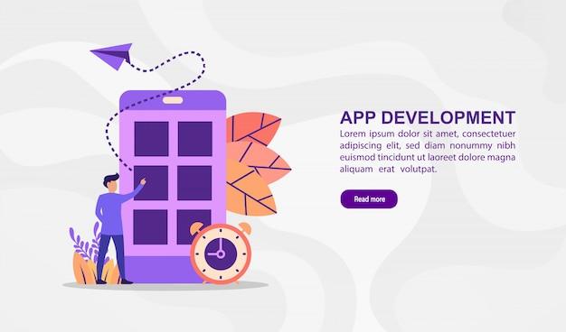 Vektorabbildungkonzept der app-entwicklung. moderne illustration begrifflich für fahnenschablone Premium Vektoren