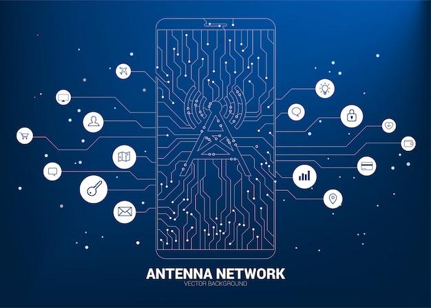 Vektorantennenturmikone am handy vom punkt schließen linie leiterplatteart-mobiledaten an Premium Vektoren