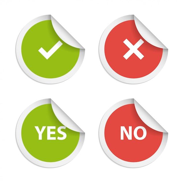 Vektoraufkleber mit zustimmung und ablehnung Premium Vektoren